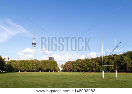 Auckland, New Zealand - April 16, 2015: A public rugby pitch in a park in the city center