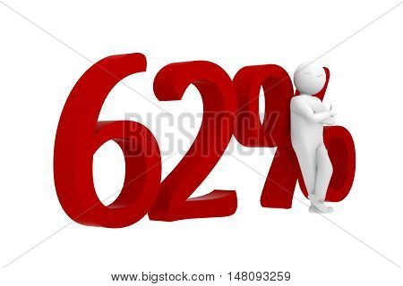 3D Human Leans Against A Red 62%