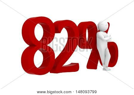 3D Human Leans Against A Red 82%