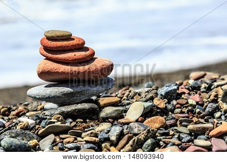 Seashore With Stone Construction As Background
