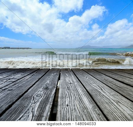Wooden Rostrum On Sea View