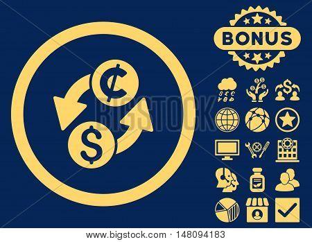Dollar Cent Exchange icon with bonus elements. Vector illustration style is flat iconic symbols yellow color blue background.