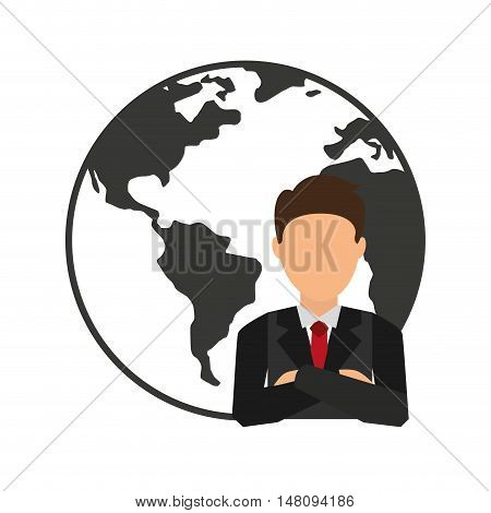 world planet with businesman vector illustration design