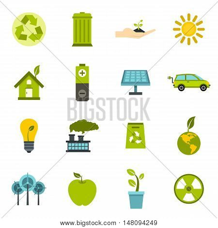 Ecology icons set in flat style. Environmental, recycling, renewable energy, nature elements set collection vector illustration