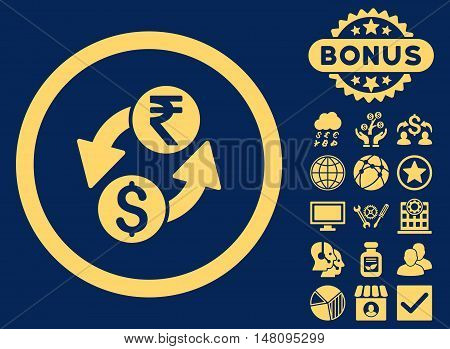 Dollar Rupee Exchange icon with bonus images. Vector illustration style is flat iconic symbols yellow color blue background.