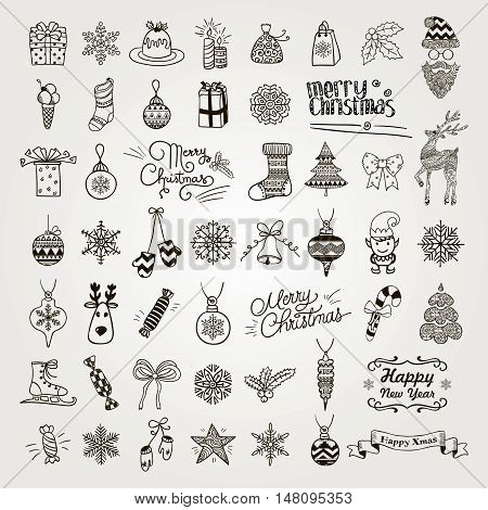 Set of Black Hand Drawn Artistic Christmas Doodle Icons. Xmas Vector Illustration. Outlined Sketched Decorative Design Elements, Cartoons. New Year