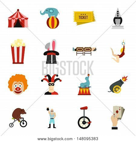 Circus entertainment icons set in flat style. Circus animals and characters set collection vector illustration