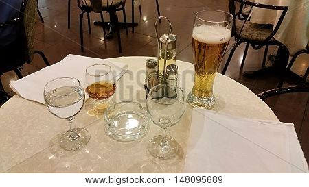 Glasses With Drinks On The Table