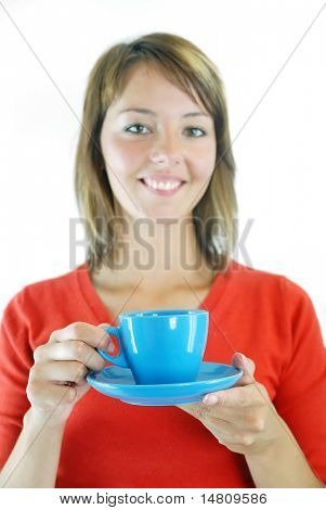 woman in red  hold blue cup of coffee