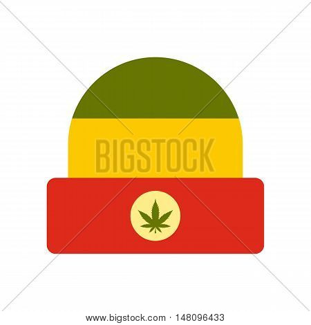 Hat in rastafarian colors icon in flat style on a white background vector illustration