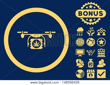 Drugs Drone Shipment icon with bonus pictogram. Vector illustration style is flat iconic symbols yellow color blue background.