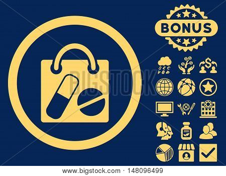 Drugs Shopping Bag icon with bonus images. Vector illustration style is flat iconic symbols yellow color blue background.