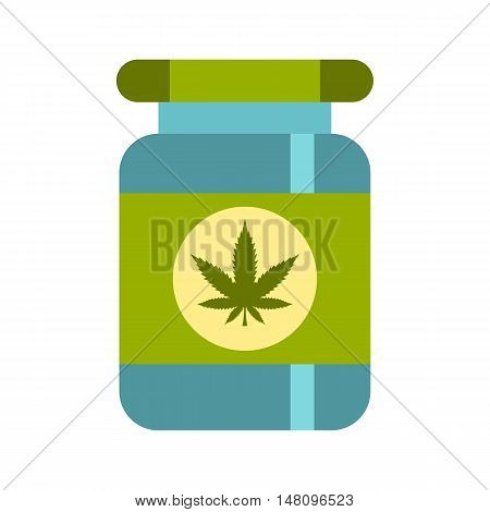 Medical marijua bottle icon in flat style on a white background vector illustration