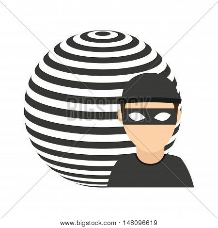 planet sphere with thief vector illustration design