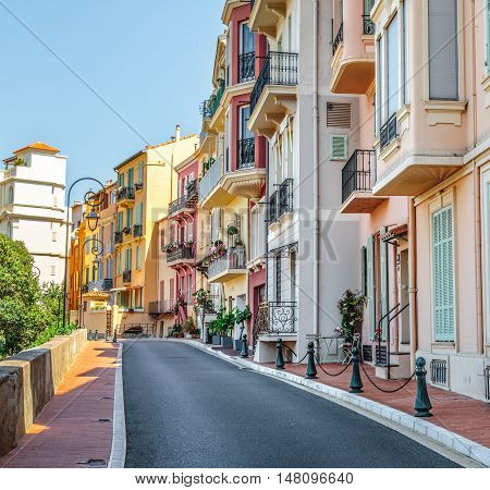 Sidewalk Along Apartments In Monaco