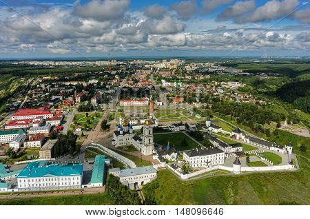 Tobolsk, Russia - July 15, 2016: Bird eye view onto Tobolsk Kremlin. Tyumen region