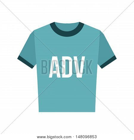 Blue shirt with ADV inscription icon in flat style on a white background vector illustration