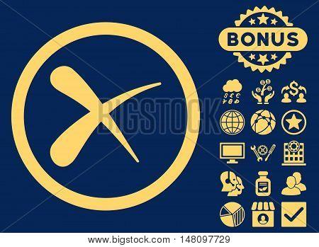 Erase icon with bonus design elements. Vector illustration style is flat iconic symbols yellow color blue background.