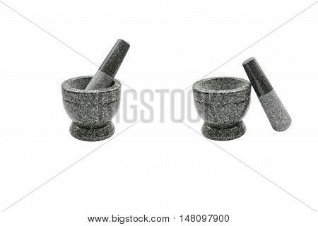 Set of Mortar and Pestle Isolated on a White Background