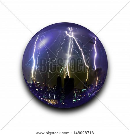 Isolated Abstract Thunder Storm Lightning Bolt In The Glass Ball On Black Background With Clipping P