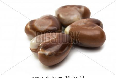 Belgian chocolate heart candy on white background