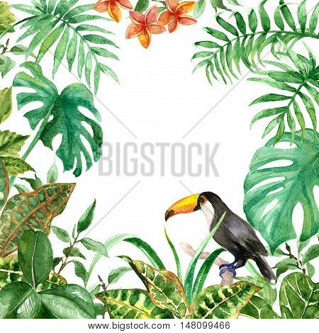 Raster colorful green tropic frame made with most favorite leaves and birds. Decoration for different printed goods, illustration and design element, pattern for postcards.