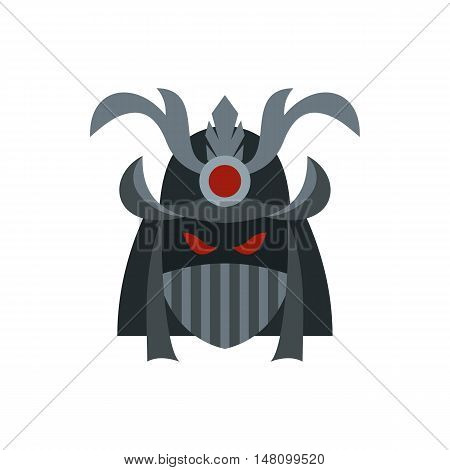 Japanese samurai mask icon in flat style on a white background vector illustration