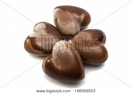 Belgian chocolate heart valentines day on white background