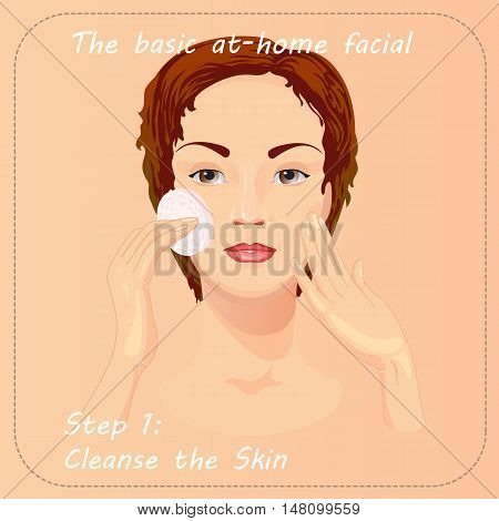 Young woman cares and protects her face with cleanse the skin. Beauty facial procedure vector illustration. Face care with lotion.
