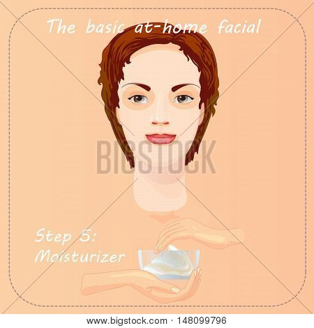 Young woman cares and protects her face with moisturizer. Beauty facial procedure vector illustration. Face care with cream.