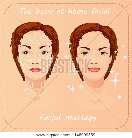 Young woman cares and protects her face. Beauty facial procedure vector illustration. Face care with massage.