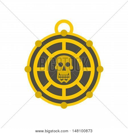 Human skull aztec medallion icon in flat style on a white background vector illustration