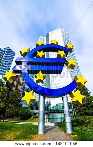 FRANKFURT AM MAIN Germany - September 03 2016: Euro Sign in front of the European Central Bank in Frankfurt Germany