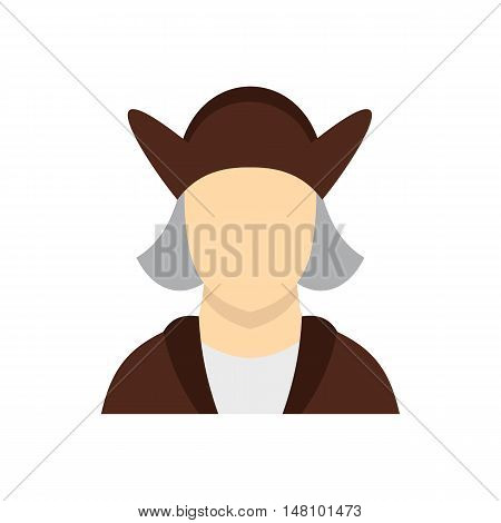 Man wearing in Christopher Columbus costume icon in flat style on a white background vector illustration
