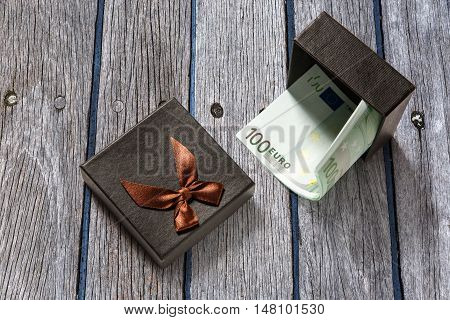 Gift Box With Euro Banknotes