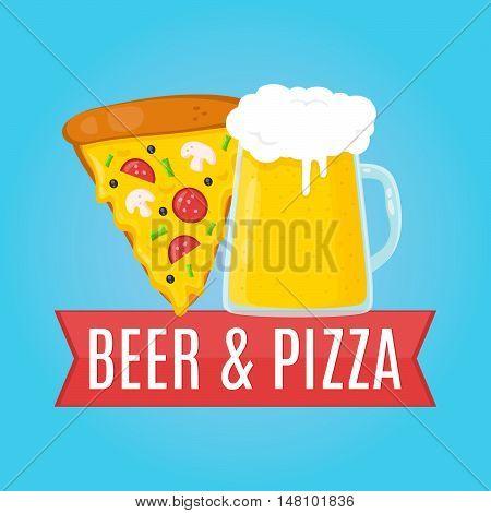 Beer and Pizza flat design illustration. Food concept