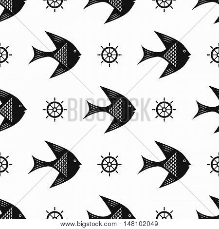 Maritime mood, Seamless nautical pattern with fishes and steering wheels, black-and-white