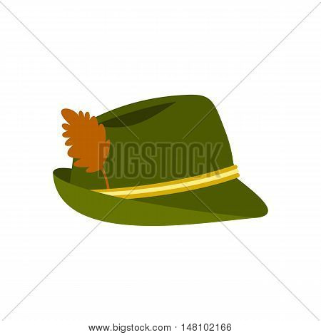 Green hat with feather icon in flat style on a white background vector illustration