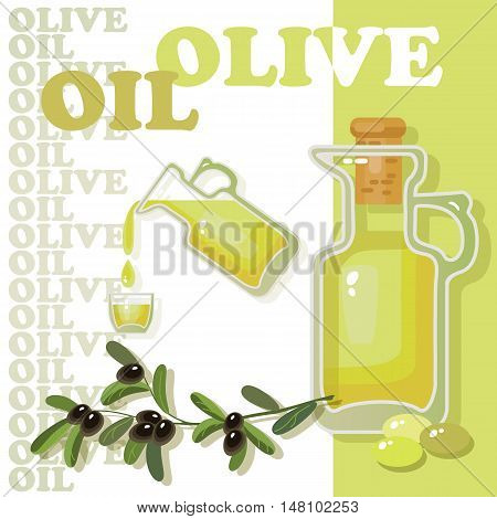 Vector illustration with glass jar full of olive oil and branch on white background.  Natural delicious healthy nutrition olive oil.  Glass bottle of premium virgin olive oil and some olives with leaves.