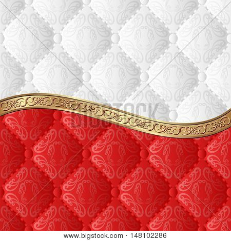 white and red background with decorative pattern