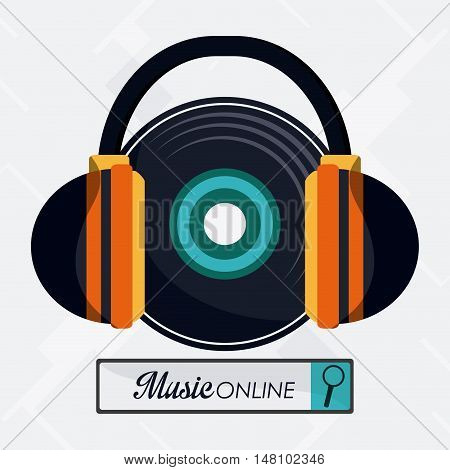 Vinyl and headphone icon. Music online and media  theme. Colorful design. Vector illustration