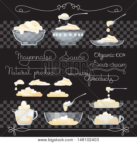 Vector illustration with sour cream, sauce, handwritten words, spoons, jug and glass bowl  on black background.