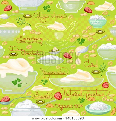 Cottage cheese, sour cream  and  handwritten words seamless pattern. Vector background.  Food image. Hand drawn illustration for your wallpaper, textile, fabric or wrapping paper.