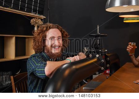 Happy Smiling Barman Stand At Counter, Bartender Waiting Order Serving, Hands At Beer Tap Workplace, Pub Worker
