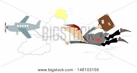 Trip by air. Man with a bag flies behind the plane holding it by cord