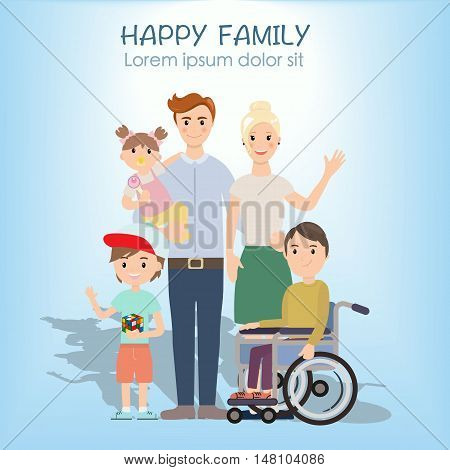 Portrait of four member happy family posing together. Parents with kids and with special needs child. Vector colorful illustration in flat design. Family graphic design post card.