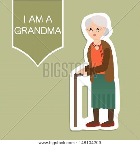 Grandma standing full length with walking stick smiling. Old woman vector illustration on green background. Flat elegant grandparent.
