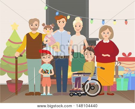 Big Christmas family at home vector illustration. Family portrait near fire place and Christmas tree and gifts. Parents, grandparents and with special needs child.