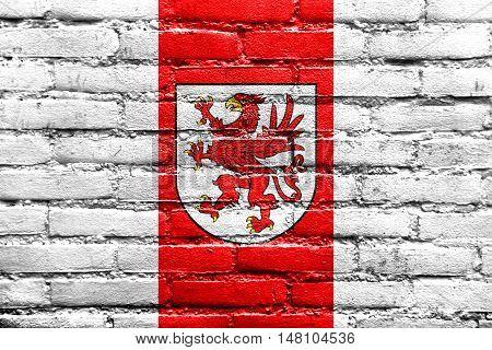 Flag Of West Pomeranian Voivodeship, Poland, Painted On Brick Wall