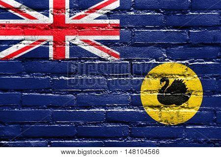 Flag Of Western Australia State, Australia, Painted On Brick Wall